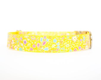 Liberty of London Dog Collar - Bright Yellow Floral
