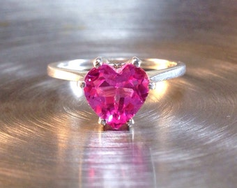 Pink Sapphire Heart and Silver Ring, Sweetheart Ring, Engagement Ring, Valentines Gift, Sterling Ring with Pink Heart