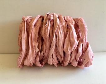 Silk Sari Ribbon-Recycled Pink Sari Ribbon-10 Yards