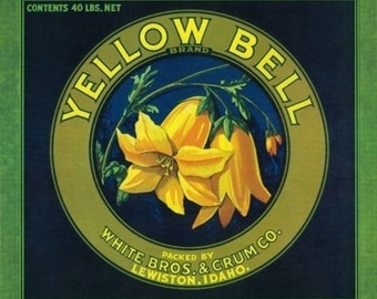 Yellow Bell Apple Crate Label (Art Prints available in multiple sizes)
