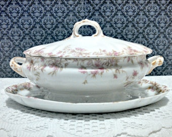Antique Sauce Gravy Tureen, Charles Field Haviland CFH GDM, Limoges Porcelain, Attached Underplate, Pink Floral Pattern, Circa 1890s
