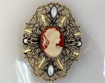 Vintage Brooch with Cameo, 40x50mm (B1-4)