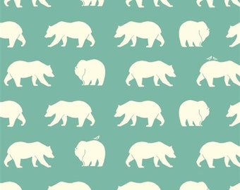 Bear Hike (Pool) - Bear Camp - Birch Fabric - Organic Cotton - 1 Yard