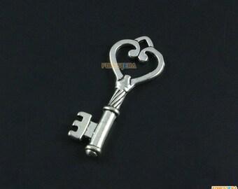 10Pcs Antique Silver Key Charm Key Pendant Heart Key Charm 45x18mm (PND1619)