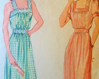 Vintage Simplicity 4845 Sewing Pattern, 1940s Nightgown Pattern, Bust 34, Sleepwear Pattern, 40s Sewing Pattern, Vintage Sewing Pattern
