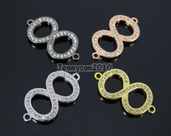 Clear Zircon Gemstones Pave Infinite Bracelet Connector Charm Beads Silver Gold Rose Gold Gunmetal
