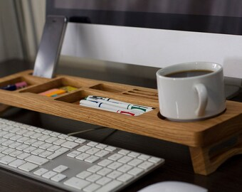 Canadian Oak Wood Desk Organizer, Desk Accessories, Personalized Office & Home Organizer, Keyboard Rack, Home Desk Storage, Unique Gift