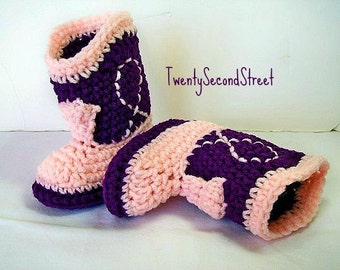 Cowgirl Baby Booties  Purple &  Baby Pink Crochet Cowboy Boots