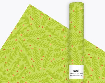 Wrapping Paper - Pine & Holly in Fern