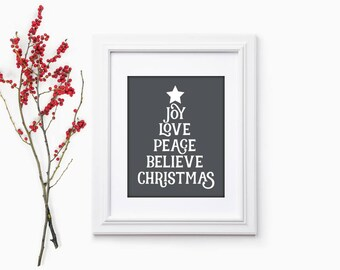 Believe Print | Merry and Bright Sign | Holiday Hostess Gift | Christmas Party Gift | Christmas Home Decor | Christmas Hostess Gift