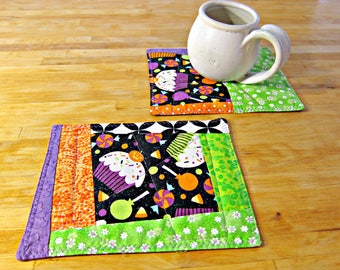 Halloween Snack Mats, Halloween Coasters, Halloween Mug Rugs, Quilted Coasters, Quilted Mug Rugs, Halloween Decor, Halloween Candy Fabric