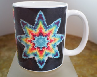 Tie Dye Coffee Mug Two Stars and a Double Spiral Microwave and Dishwasher Safe 11 oz. Ships the next day.