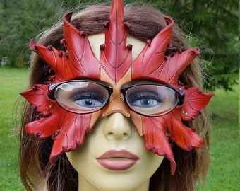 Leather Autumn leaf mask for glasses