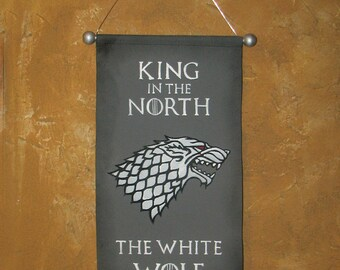"Hand Painted  Jon Snow ""King in the North"" and ""The White Wolf"" Canvas Banner - Game of Thrones - House Stark -  Direwolf - Sigil - Cosplay"