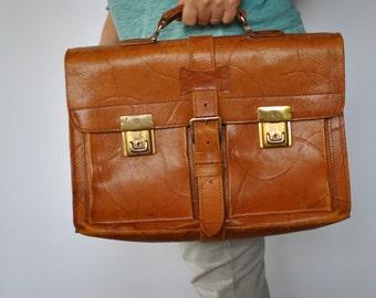 Vintage  leather brief case , document case , case ...(179)