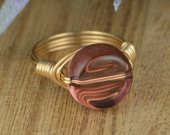 Sale! Purple Glass Wire Wrapped Ring- Sterling Silver, Yellow or Rose Gold Filled Wire and Glass Bead - Size 4 5 6 7 8 9 10 11 12 13 14