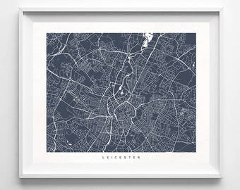 Leicester Map, England Print, Leicester Poster, English Art, Wedding Gift, Decor Idea, Home Town, Giclee, Gift For Her Decor, Gift For Her