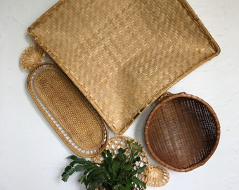 Woven wicker basket set, wall hanging boho basket decor