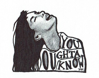 You Oughta Know // Alanis Morissette drawing // music lover gift idea // 1990s songs // nostalgia // Jagged Little Pill