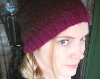 Knitted Purple Wool Hat