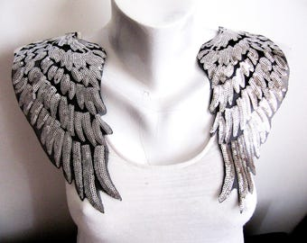 Iron on Tango Wings Patch,Silver Wings Applique,Sequin Silver Patch,Wings Applique,Silver Wings,Costume Embellishment,Large Angel Wings