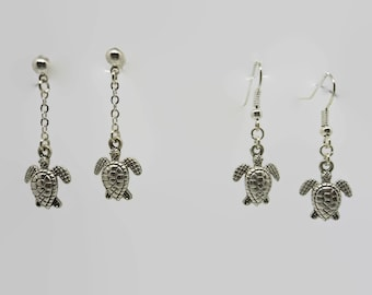 Earrings - silver - turtle earrings 3.5 cm