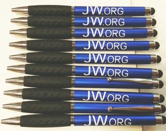"""10 JW.ORG Pen (STYLUS) w/Rubber Grip, """"Great Pioneer Gift"""""""
