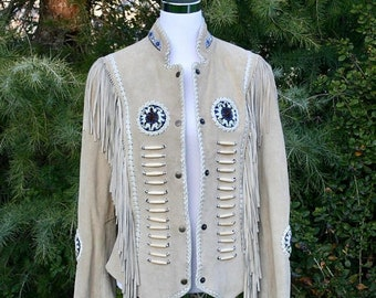 20% OFF SALE 1960/ 1970's Suede Fringe Jacket, Native American Style Suede Fringe Jacket, Suede Beaded Jacket--TNSud-70A