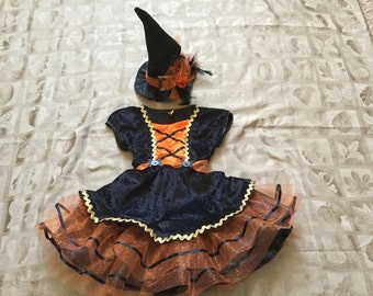 Infant Toddler Girls Halloween Witches Costume Dress, Orange, Sz 5T and 6T