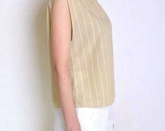 90's vertical striped simple blouse, white and beige boatneck minimalist top, loose sleeveless top