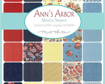 "Moda Anns ArborCharm Pack (42) 5"" Quilt Fabric Squares by Minick and SimpsonQuilting Sewing"
