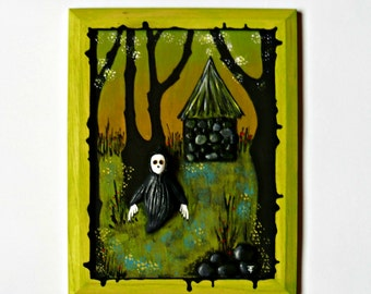 3D art - Polymer Clay On Canvas - Acrylic Painting On Canvas - Mixed Media Original - The Silent Guardian - OOAK