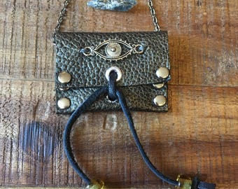 Leather Gift For Her-Women's Accessories-Evil Eye Pouch Necklace-Metallic Grey-Guitar Pick Holder- Hipster Bohemian Jewelry-Modern Tribal