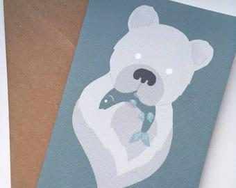 A6 bear print v2 greetings card