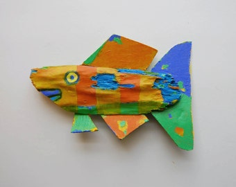 Fish Art - Colorful Orange, Yellow Whimsical Painted Recycled Wood Mixed Media Hanging Decorative Funky Fish Art Creation