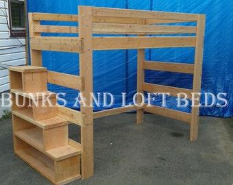 Queen size heavy duty loft bed with stair case shelf for Case loft