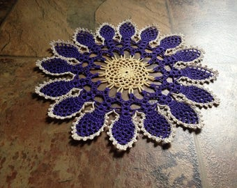 sunflower design handmade crochet lace home decor housewarming doily, violet, yellow and natural