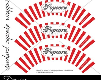 Printable Popcorn Designer Cupcake Wrappers_ONLY