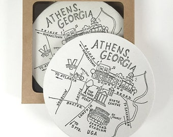 Letterpress Athens, Georgia Map Coasters