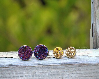 Gold and Purple Faux Druzies - Glitter Stud Earrings on Titanium Posts - 2 Pair Set