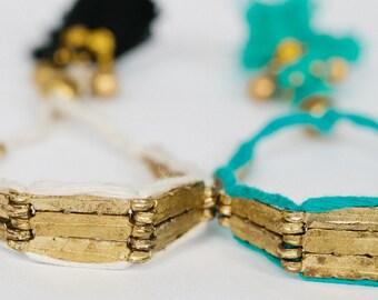 Maya Bracelet, Handmade Tassel Gold Beads, Off White, Turquoise, Handwoven Jewellery, Everyday Jewelry, Boho Chic, Trending, Unique, JO5