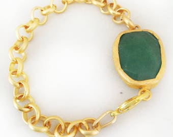 Green Faceted Jade Brooch Bracelet with Gold Plated Chain