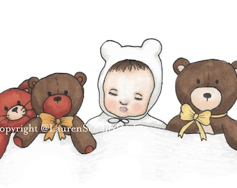 Baby Nap Time Illustration Print