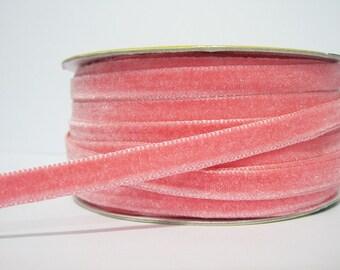 """5 yards 3/8"""" Coral Pink Velvet Ribbon, Pink Velvet Ribbon, Ribbon, Ribbon lot, Wholesale Ribbon, Pink Velvet trim, Velvet ribbon, Pink trim"""