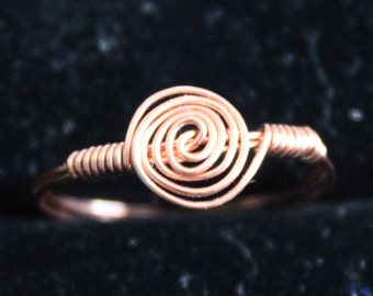 Copper Swirl Ring Size 7