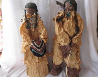 Native American Warrior and wife, Indian figurines, folk art, Americana decor, Southwestern decor, Native american art doll