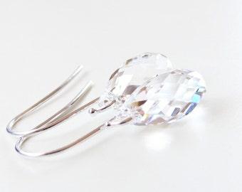 Clear crystal teardrop earrings - bridal earrings - bridesmaid earrings - clear earrings