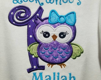 Owl first birthday one piece/ bodysuit  personalized with name