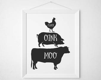 Farmhouse Kitchen print - Southern cooking south saying modern wall decor quote pig cow rooster chicken farm rustic shabby black and white