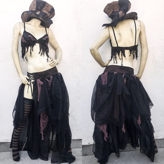 Apocalyptic Corset Skirt Brown Hand Outfit Gothic Outfit Black and Wasteland Costume Dyed THRq7x